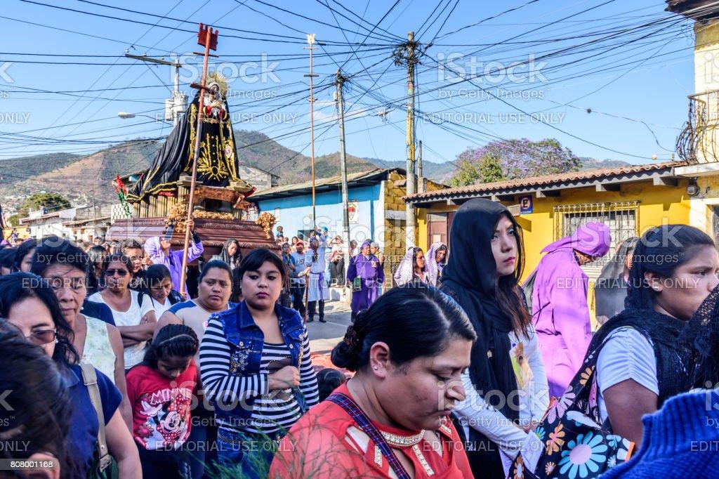 Lent procession with Virgin Mary, Antigua, Guatemala stock photo