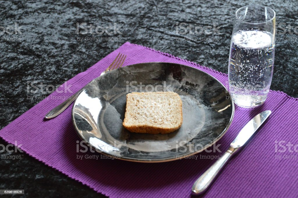 lenten with only bread and water stock photo