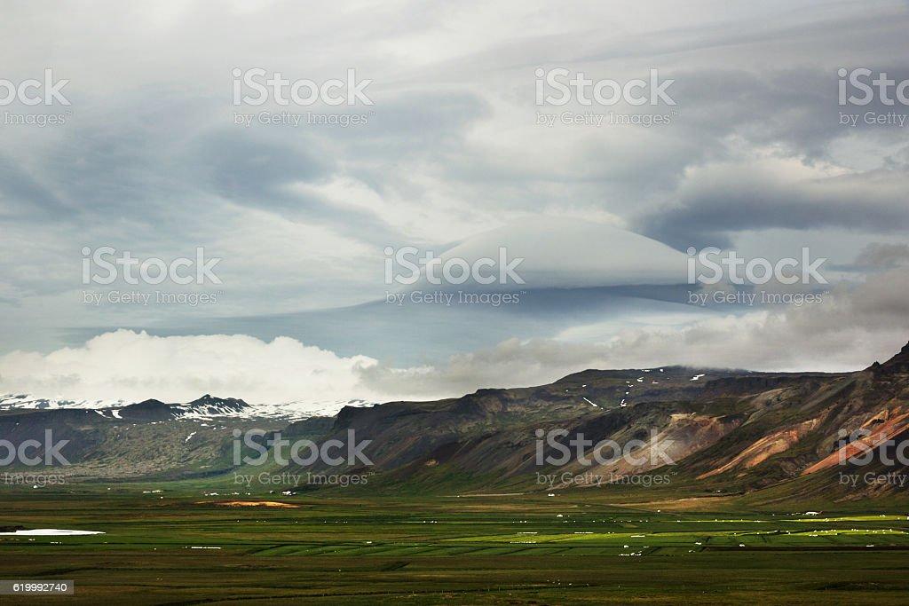 Lenticular Cloud, Snaefellsness, Iceland stock photo
