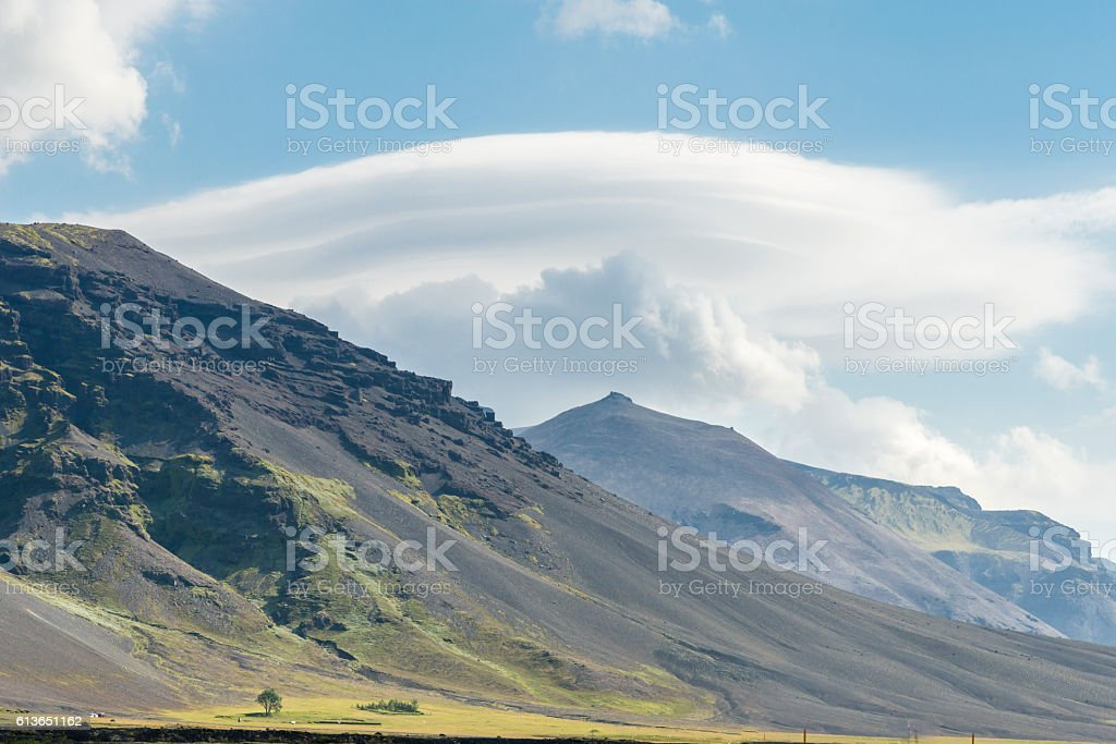 Lenticular clouds. Iceland. stock photo