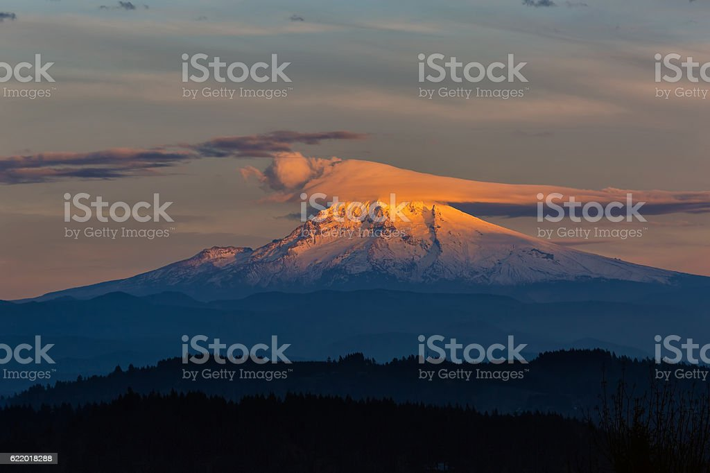 Lenticular Clouds over Mount Hood stock photo