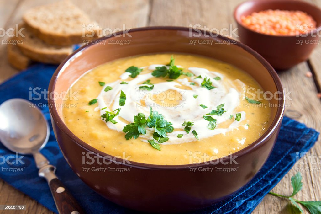 Lentil and pea cream soup stock photo