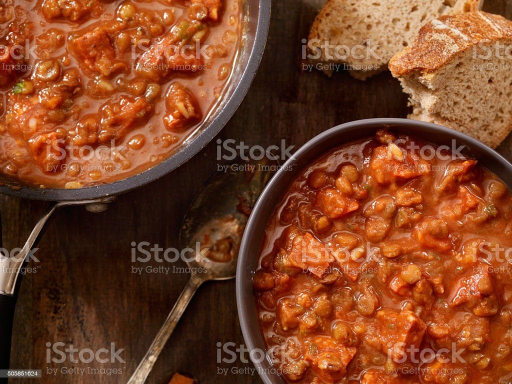 Lentil and Sausage Soup with Tomatoes stock photo
