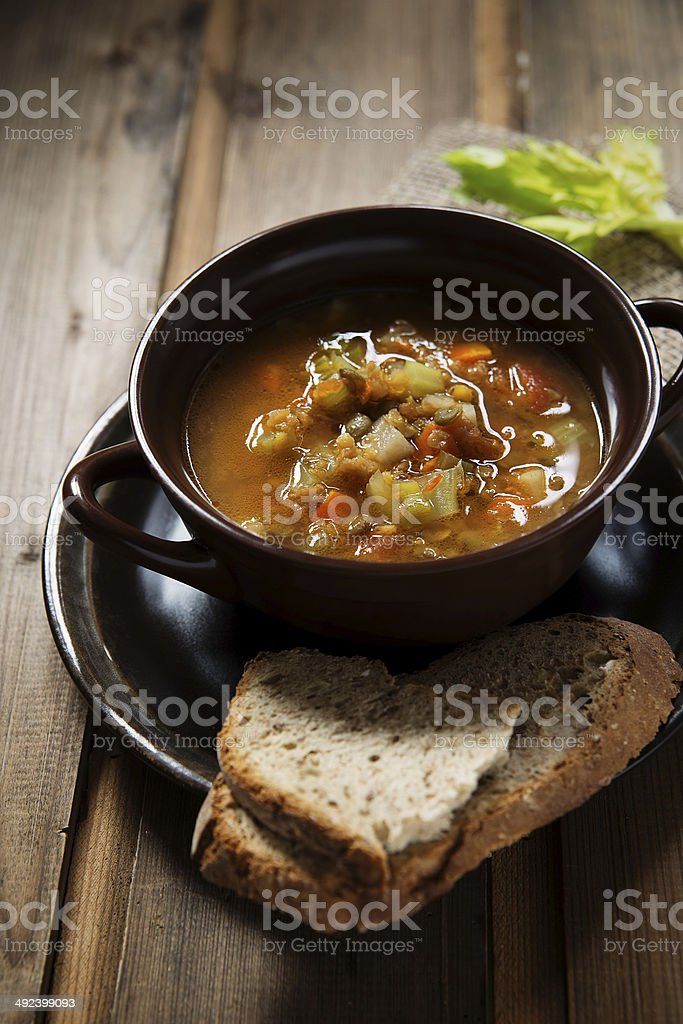 lentil and vegetable soup stock photo