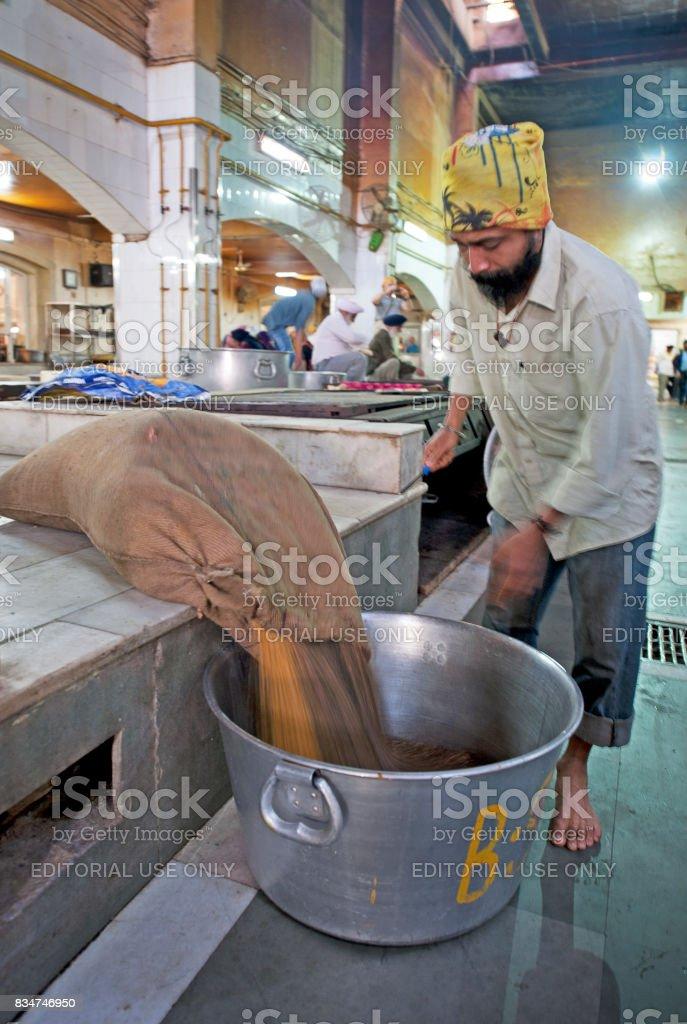 Lentil cascade, Bangla Sahib Temple, Delhi, India. stock photo