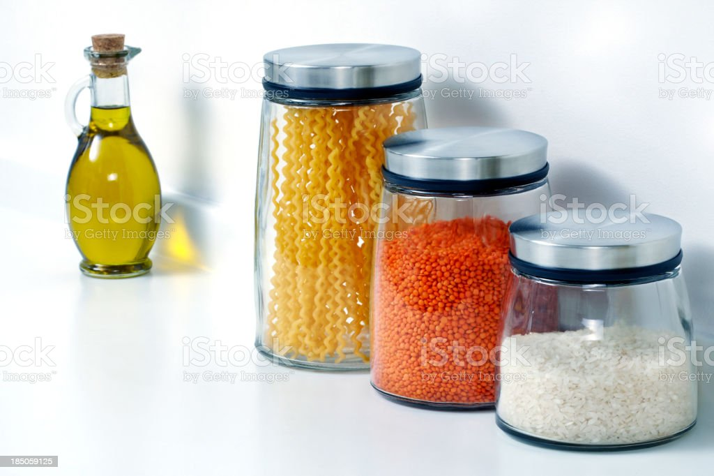 Lentil, Rice, Pasta And Olive Oil stock photo