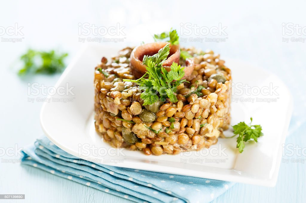 Lentil salad stock photo