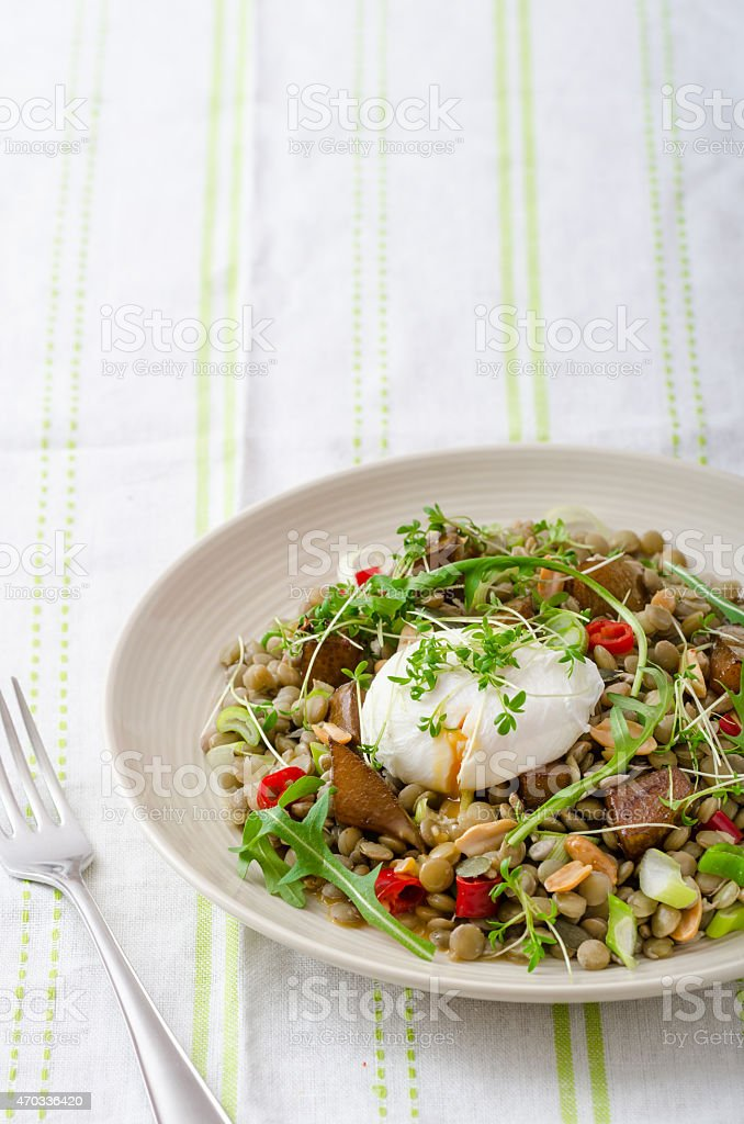 Lentil salad with poached egg stock photo