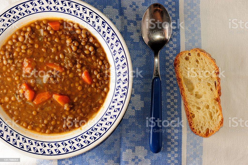 Lentil Soup on Blue Decor stock photo