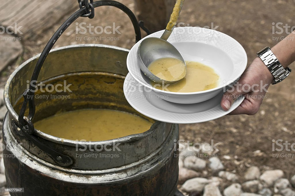 Lentil soup to camping stock photo