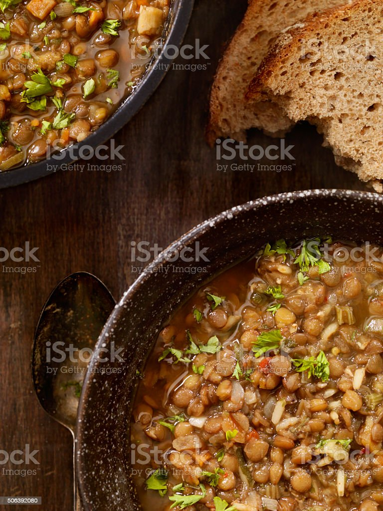 Lentil Soup with Crusty Bread stock photo
