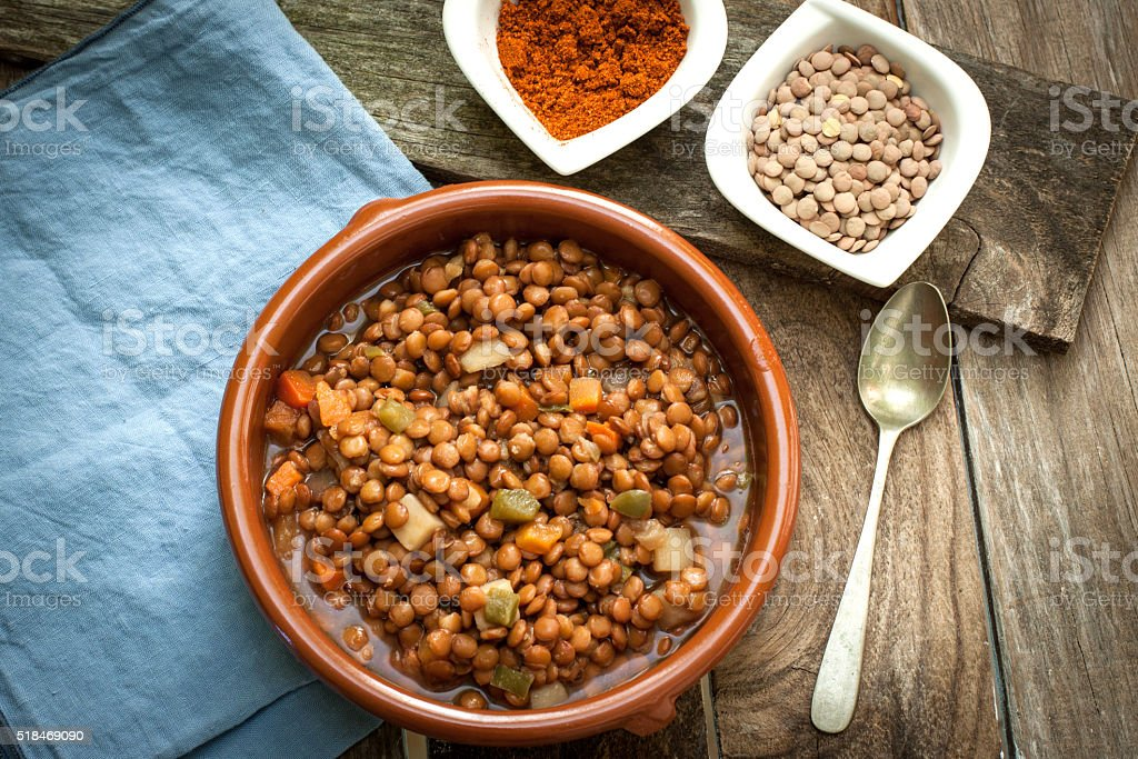 Lentil with veggetables stock photo