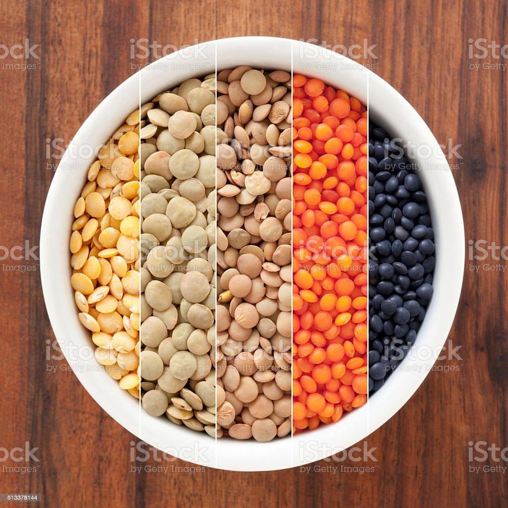 Lentils composition stock photo