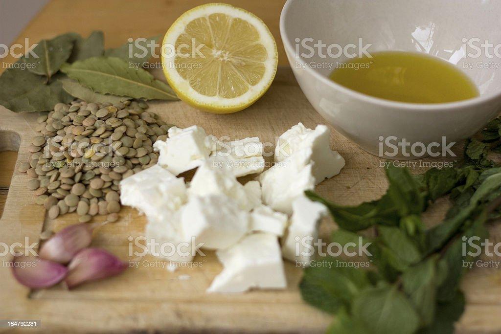 Lentils Salad Ingredients royalty-free stock photo