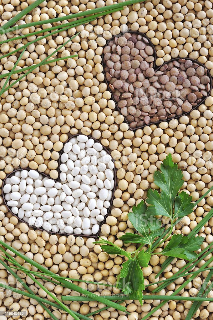 Lentils, soybeans, beans with herbs - pulse concept royalty-free stock photo