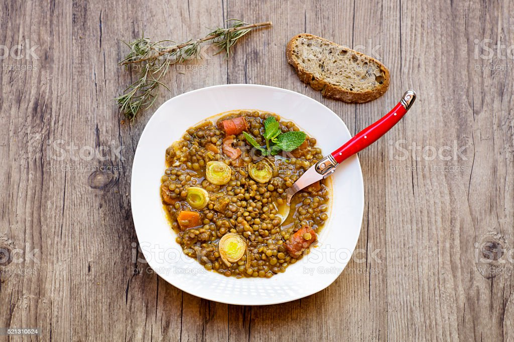 Lentils stew stock photo