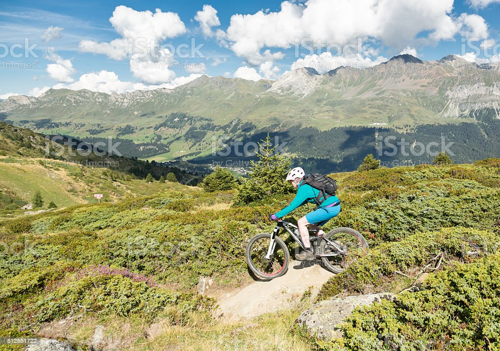Lenzerheide Downhill Biking, Switzerland stock photo