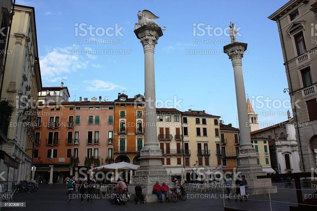 Leo column in Vicenza at Piazza dei Signori  Veneto Italy stock photo