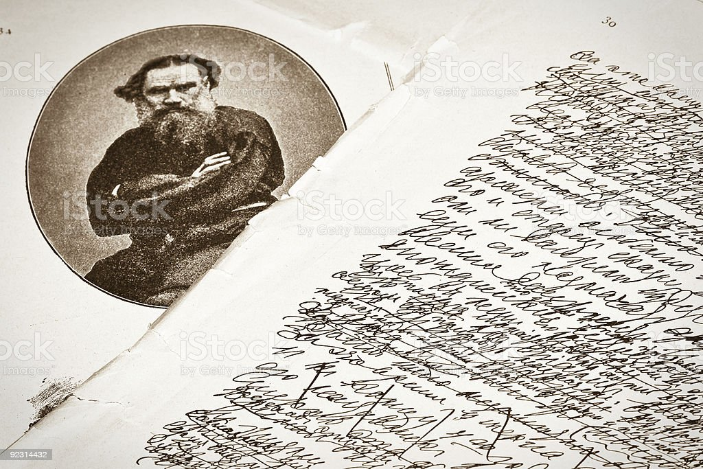 Leo Tolstoy's handwriting.Vintage literature magazine of 1870. stock photo
