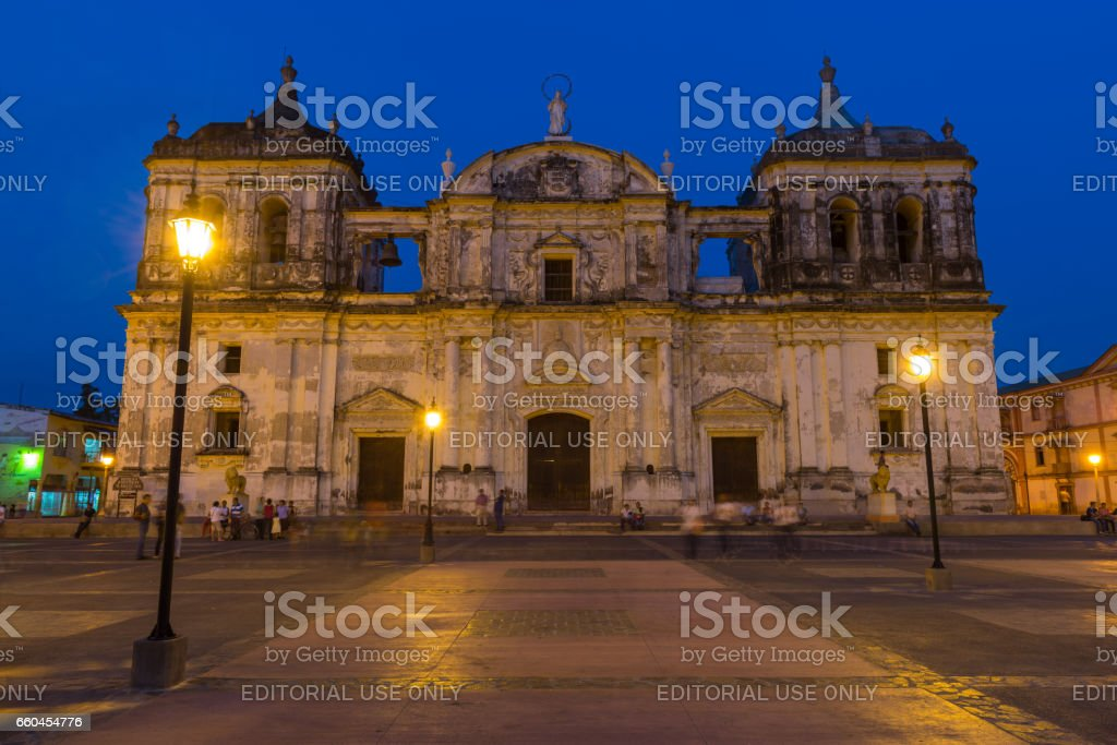 Leon Cathedral by Night stock photo