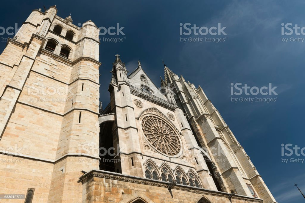 Leon (Spain): cathedral exterior stock photo