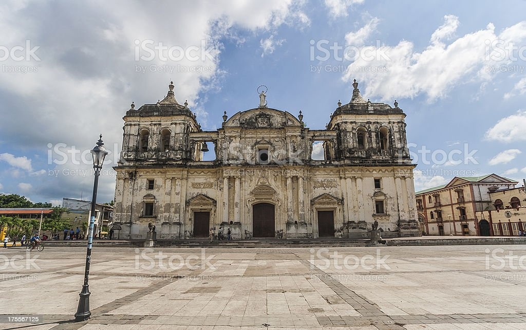 Leon cathedral stock photo