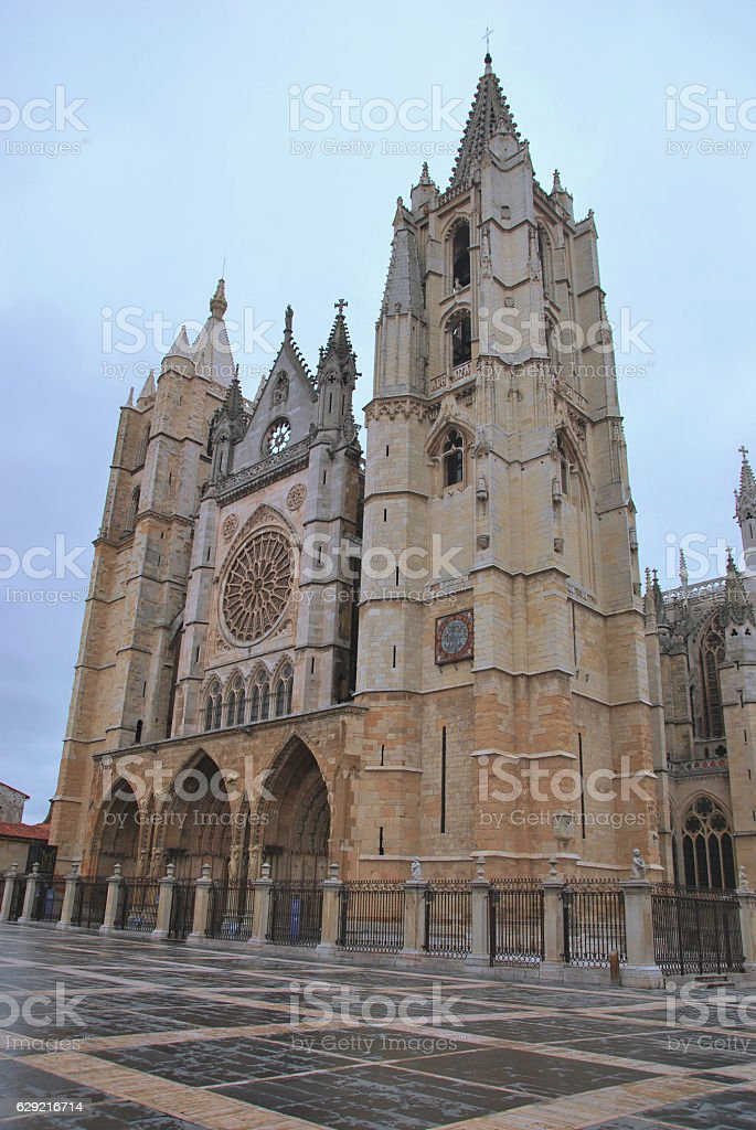 Leon gothic cathedral facade stock photo