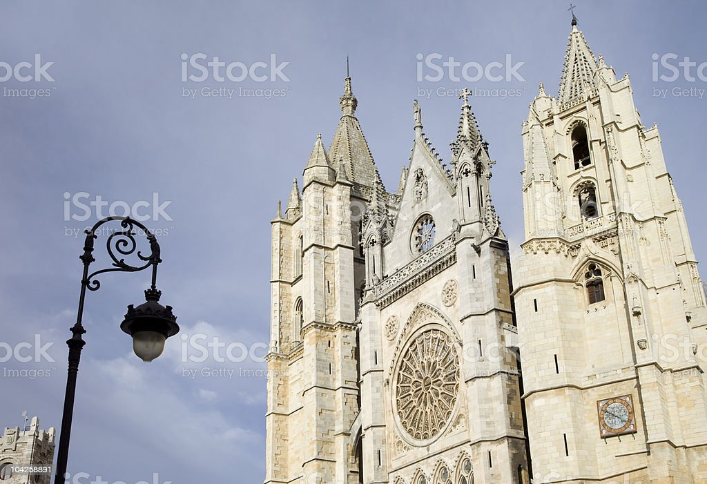 Leon gothic cathedral stock photo