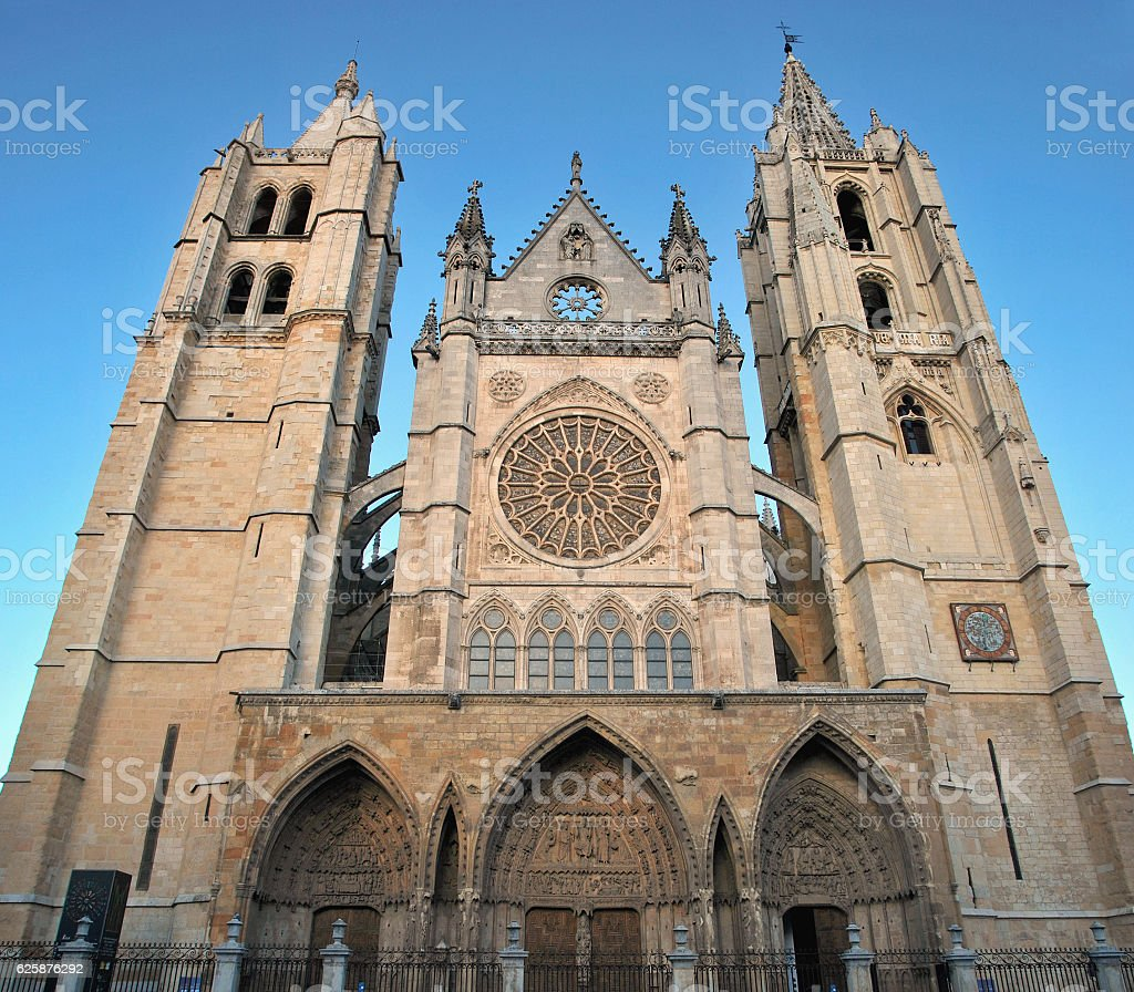 Leon gothic cathedral with rose window stock photo