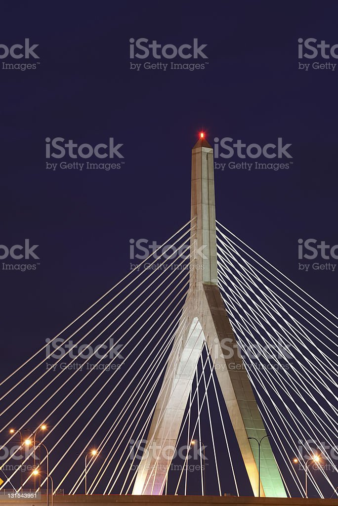 Leonard P. Zakim Bunker Hill Bridge at Night stock photo