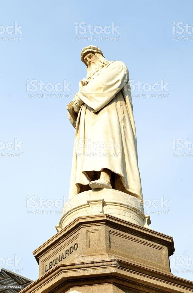 Leonardo da Vinci monument in Milan. stock photo
