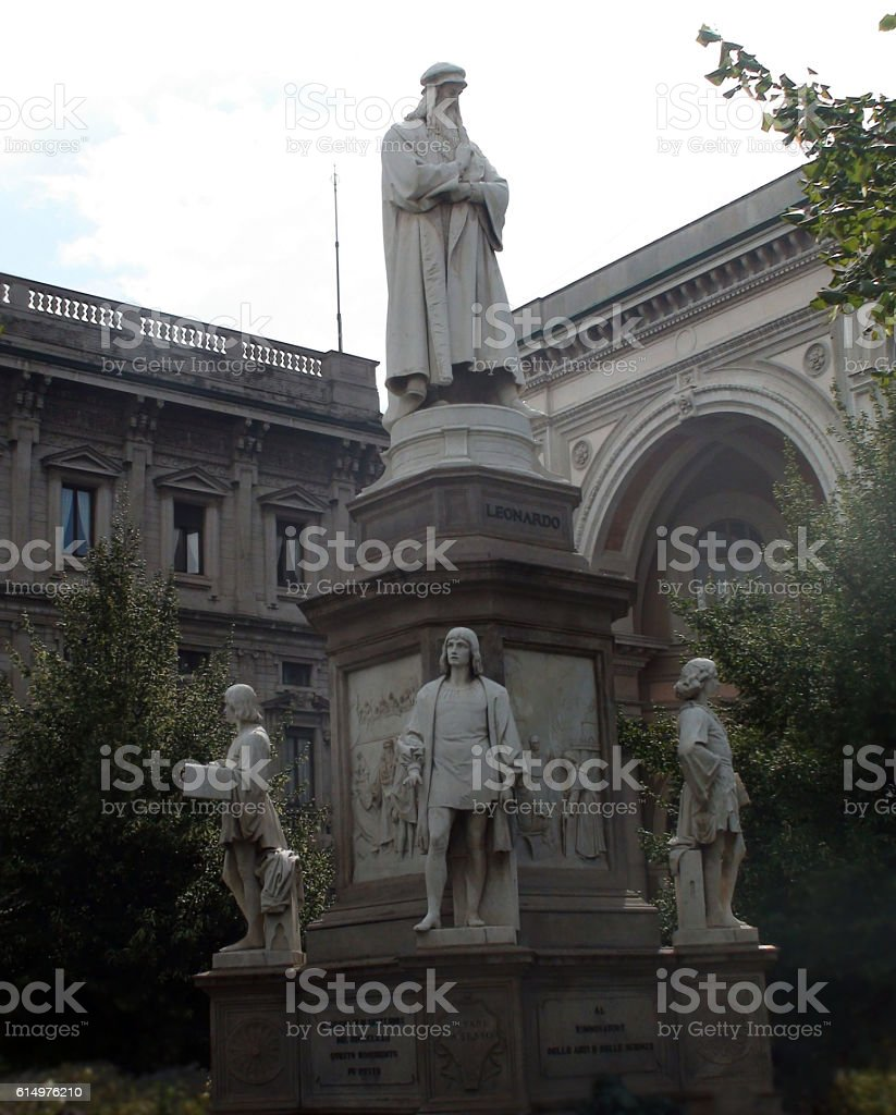Leonardo Da Vinci Monument In Milan.Italy stock photo