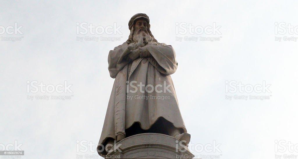 Leonardo Da Vinci Statue Against Summer Sky In Milan Italy.Europe stock photo