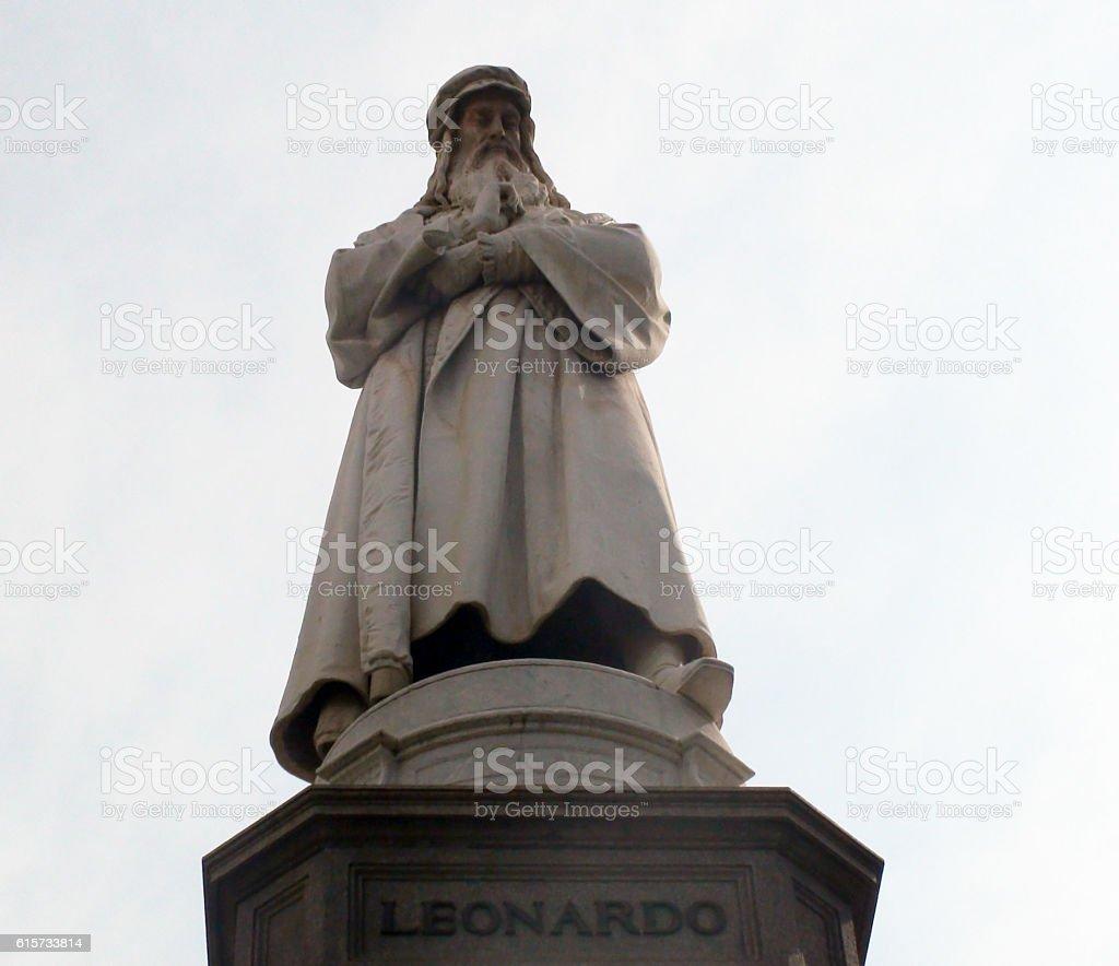 Leonardo Da Vinci Statue Against Summer Sky In Milan stock photo
