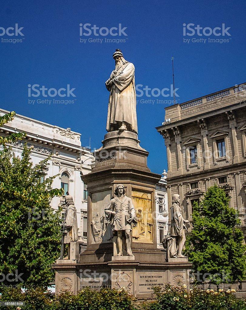 Leonardo Da Vinci Statue - Milan, Italy stock photo