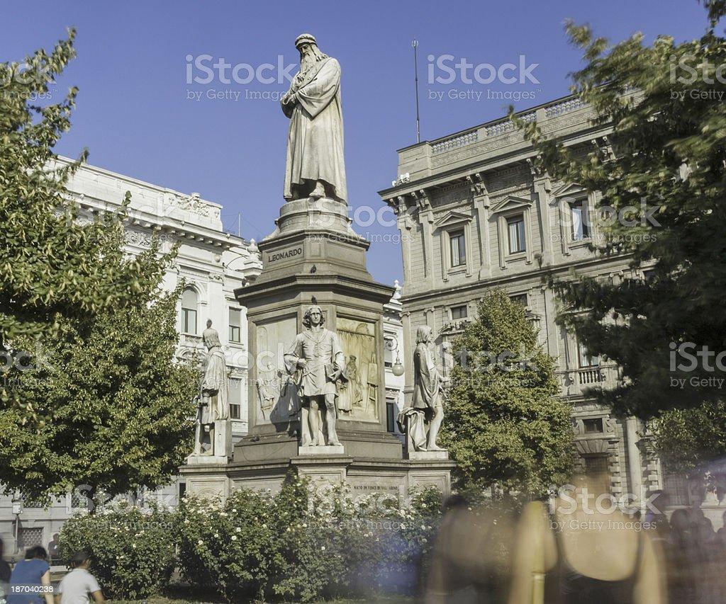 Leonardo da Vinci statue, Milan stock photo