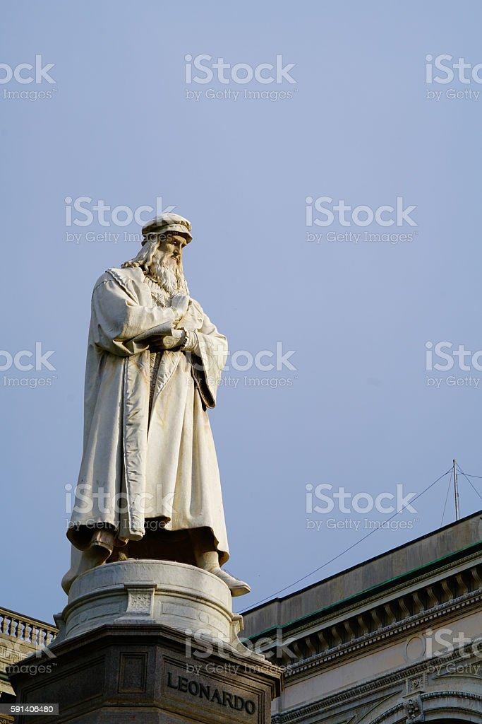 Leonardo da Vinci statue stock photo