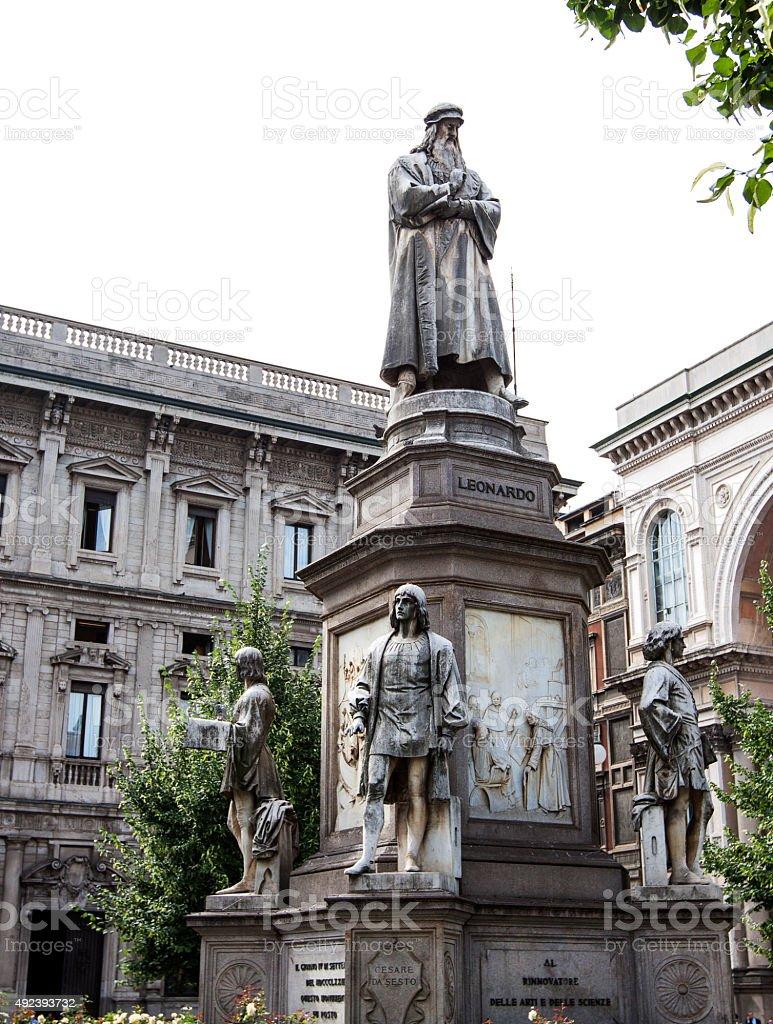 Leonardo Da Vinci's statue at piazza della scala, Milan, Italy stock photo