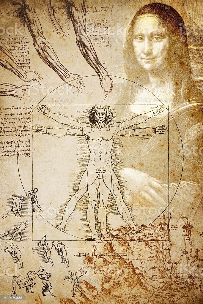 Leonardo's sketches and drawings: Composition vector art illustration