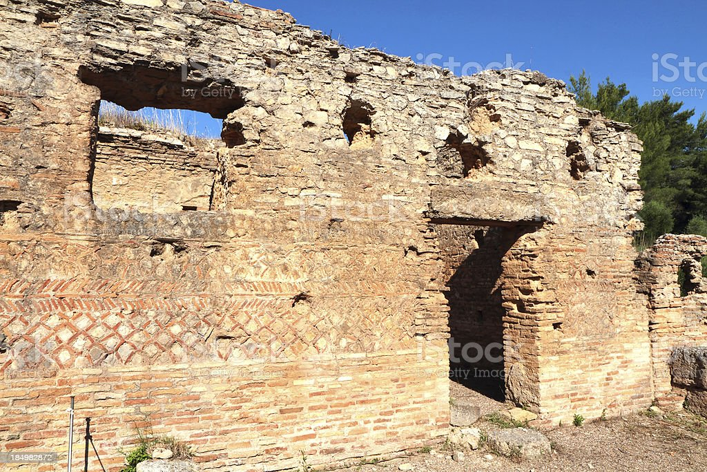 Leonidaion Thermae, Ancient Olympia, Illia Region, Peloponnese, Greece stock photo