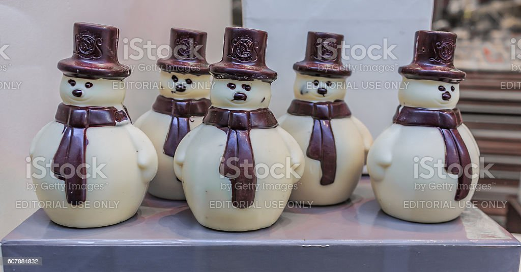 Leonidas Chocolate Snowmen stock photo