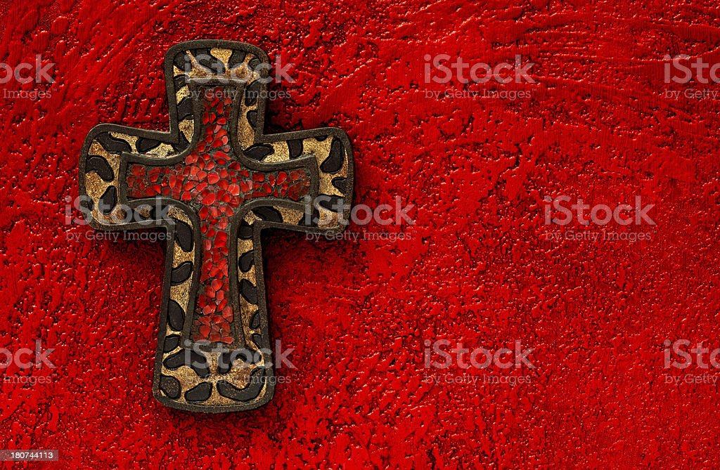 Leopard Cross on Painted Background royalty-free stock photo