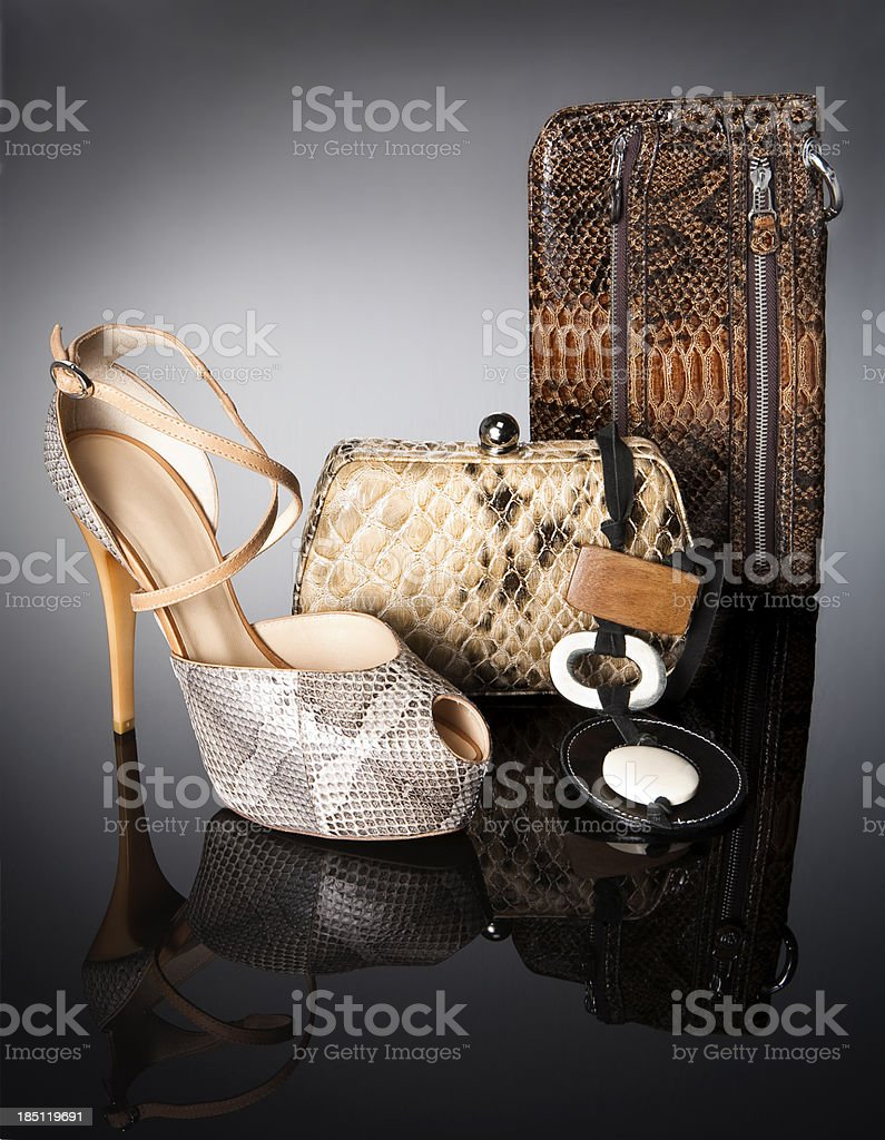 leopard handbags with shoe stock photo