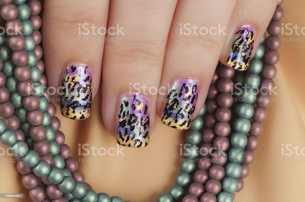 Leopard Print Nail Art stock photo