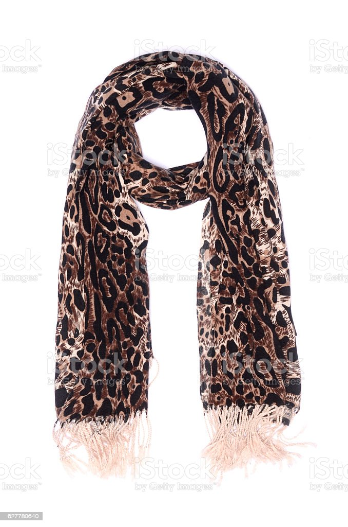 leopard scarf  isolated on white stock photo