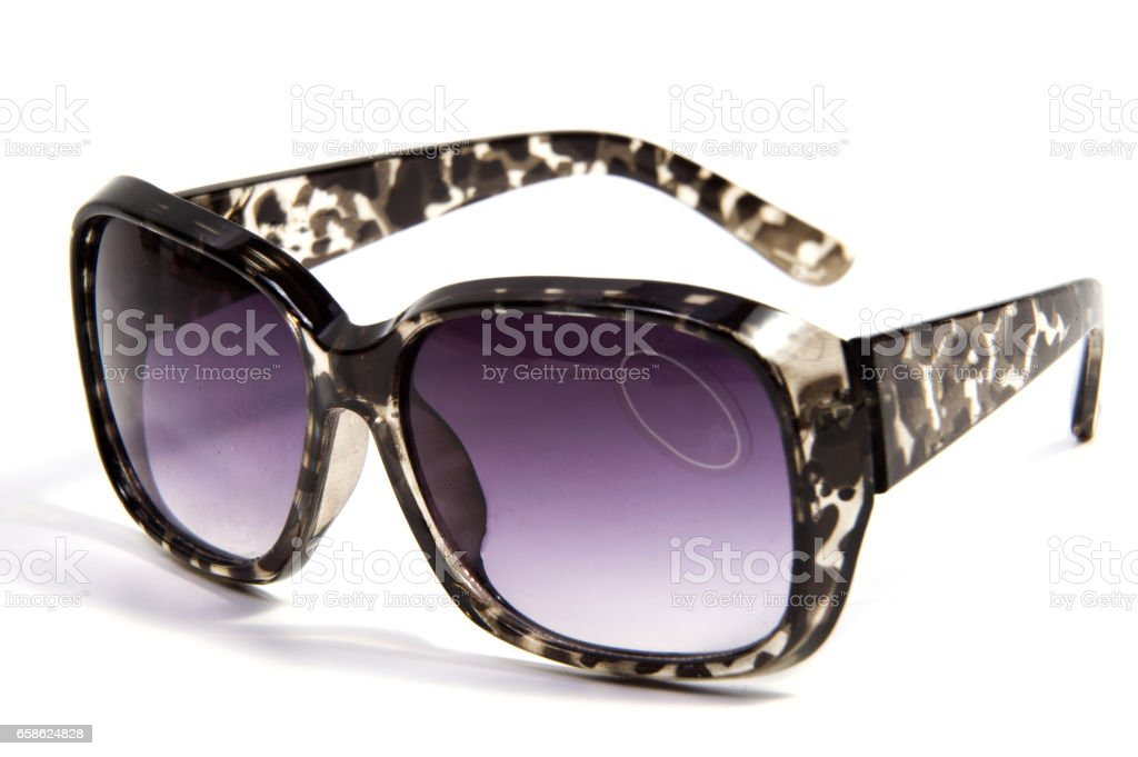 leopard sun glasses isolated on white background stock photo