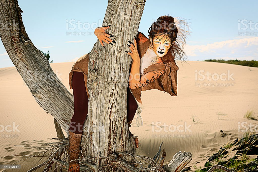 Leopard Woman in a Tree royalty-free stock photo