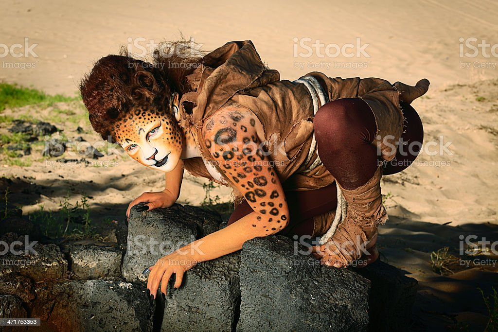 Leopard Woman royalty-free stock photo