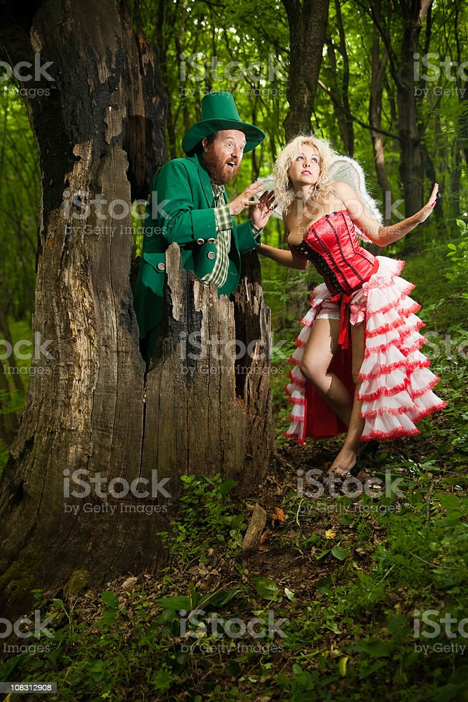 Leprechaun and fairy with big tit stock photo