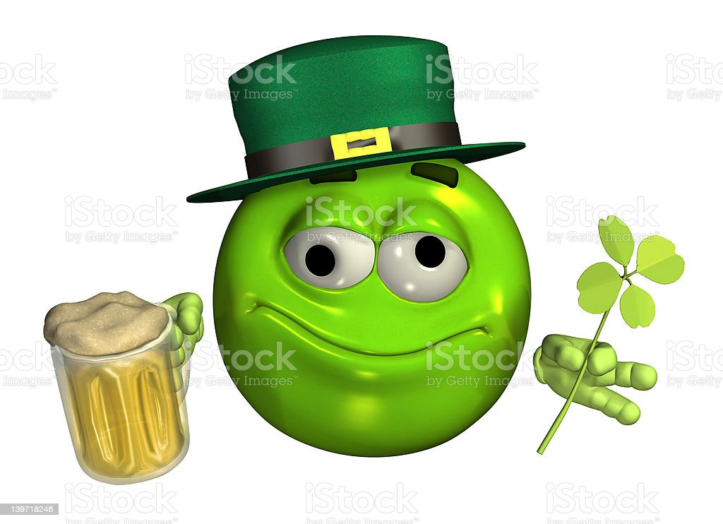 Leprechaun Emoticon with Beer - includes clipping path stock photo